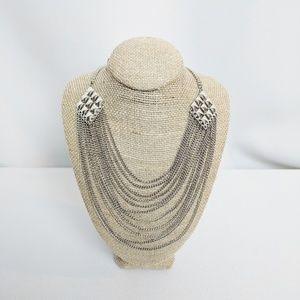 Trifari Multi Chain Silver Tone Statement Necklace